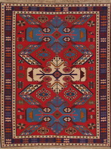 New Flat-Weave Geometric Vegetable Dye Kilim Kazak Oriental Area Rug 5x7