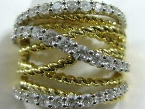 DESIGNER PAVE DIAMOND 18K WY GOLD CROSSOVER ROPE BANDS RIGHT HAND RING #R16741YW