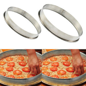 2Pcs Stainless Steel Cake Pizza Pancake Ring Molds for Pizza Pan Gadgets