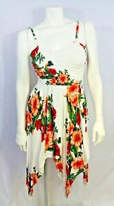 TROPICAL WHITE SPAGHETTI STRAP STRETCH FITTED BODICE MULTI LENGTH SUMMER DRESS