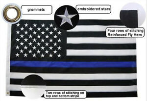 Thin Blue Line American Flag Police Embroidered Stars Sewn Stripes 12x18 inch