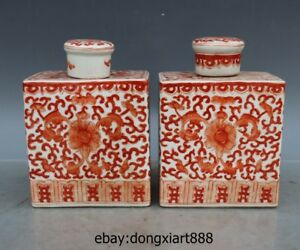 6 Chinese White Porcelain Red glaze Flower pattern Vase Water bottle Pot Jar Jug