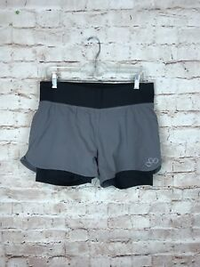 REI ladies outdoor shorts sz M grey black wide waistband drawstring under shorts $22.00