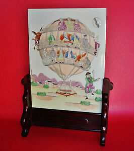 Peopledevil on Balloon Weighted by VANITY Chinese Export Porcelain Table Screen