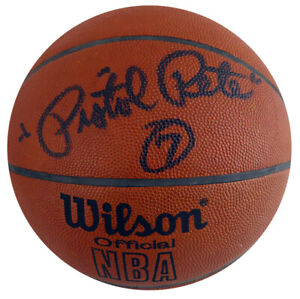 Pistol Pete Maravich Autographed Signed Wilson Leather NBA Basketball PSA Z05401