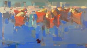 Boats Original Oil painting Handmade artwork Large Size  One of a kind