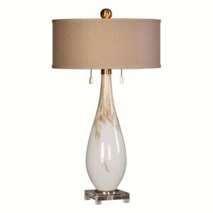 Cardoni Gloss White Glass Table Lamp Modern Teardrop Sleek  27201 Uttermost