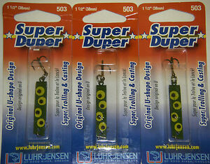 LUHR JENSEN SUPER DUPER TROUT FISHING LURES #1303-503-0074 FROG 3 PK