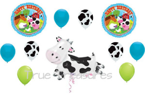 11 PC Barnyard cow horse print Birthday kids Party Farm animal Balloons country