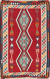 Vegetable Dye Geometric Tribal Kilim Abadeh Oriental Area Rug Wool Hand-Made 5x7