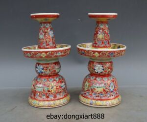 8 China White Porcelain Pottery Red Glaze Flower pattern candelabrum candlestick