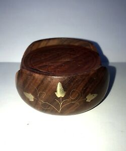 Amanat Hand Carved Wooden Floral Coasters with Brass  Metal Work Inlay Holder