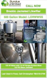 500 Gallon BREDDO Likwifier LORWWSS Steam Jacketed with Scrape Surface Mixer