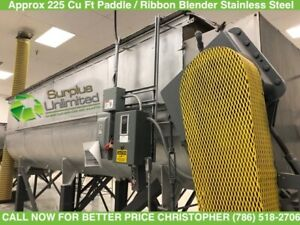 Approx 225 Cu Ft Paddle  Ribbon Blender Stainless Steel
