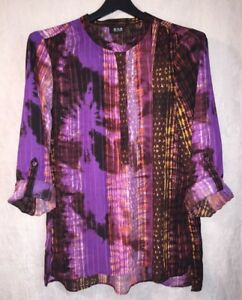 a.n.a. Size Large L Purple Blouse Semi Sheer Tunic Top Shirt Roll Tab Sleeve