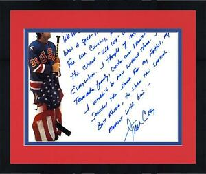 Framed Jim Craig Team USA Signed 16x20 Stick Photo & In Their Own Words Insc