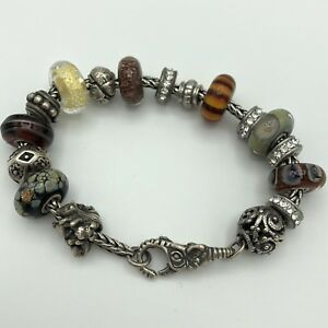 TROLLBEADS Sterling Charm Bracelet Elephant Lock Art Glass Beads 925 LLA 55g