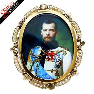 Imperial Russian Tsar Nicholas II Diamond Enamel Gold Stick Pin Brooch Pendant