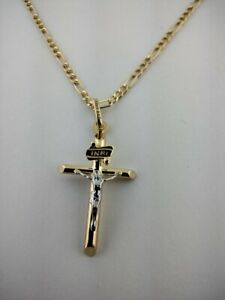 14K Solid Gold Italian Cross pendant with Figaro necklace Chain.