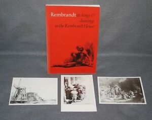 REMBRANDT ETCHINGS amp; DRAWINGS IN THE REMBRANDT HOUSE w 3 POSTCARDS $12.99