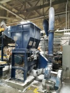 150 HP Cumberland 50B  granulator mouth open  20 X 50 inch