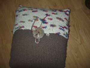 Hand crochet brown with colorful top with wooden button & metallic ribbon pillow