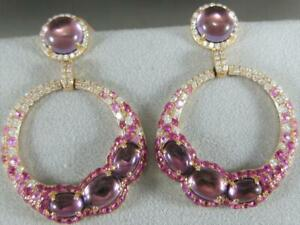 DESIGNER DIAMOND AMETHYST PINK SAPPHIRE 18K ROSE GOLD HOOP EARRINGS ER9643KDPSAM