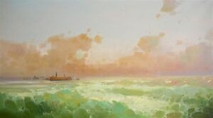 Ocean Sunset Seascape Large  Size Oil Painting Handmade Art One of a Kind