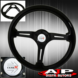 Deep Dish 345MM Steering Wheel Black Wood Black Center + Type-R Horn Button