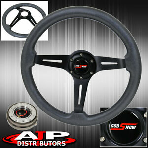 Gunmetal Slim Quick Release + Gunmetal Wood Black 345MM Deep Dish Steering Wheel