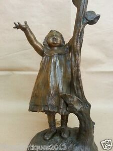 LOVELY FRENCH BRONZE SCULPTURE FIGURE GIRL LAMP ART NOUVEAU SIGNED RIGUAL