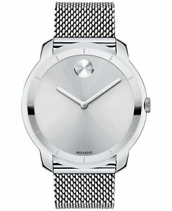 Movado Bold SWISS Silver Dial Stainless Steel Mesh Bracelet Men's Watch 3600260