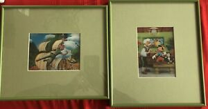 2 Vintage Glass Framed 3-D Lithograph Pictures Pinocchio & Peterpan 11