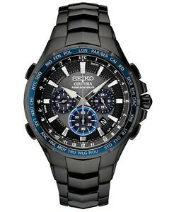 New Seiko SSG021 Coutura Radio Sync Solar Chronograph Black PVD Mens Watch
