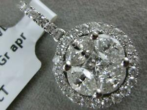 DESIGNER LARGE DIAMOND 18K W GOLD ROUND MARQUISE CLUSTER HALO PENDANT #R017442KP