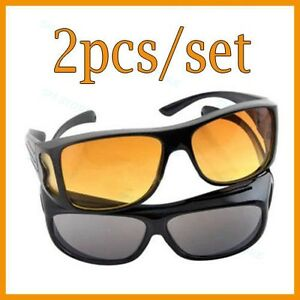 2x HD Night Vision Driving Wraparound Sunglasses Fits Over Glasses As Seen On TV