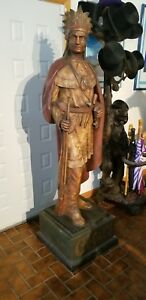 CIGAR STORE INDIAN WM. DEMUTH NYC 1878 ZINC STATUE FILLED WITH CONCRETE