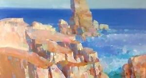 Cliffs Malibu Original Oil painting Large size One of a kind