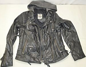 Harley Davidson Women's Mantle Triple Vent Leather Jacket Hoodie Sized Small