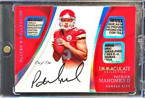 Patrick Mahomes - 2017 Rookie Auto Patch Immaculate RPA Laundry Tag True 11 SSP