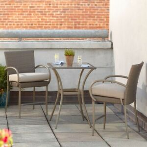 Patio Dining Furniture Set Stackable Weather Resistant Gray Frame (3-Piece)