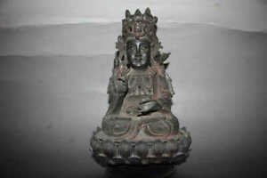 Nice Chinese ming Dy old bronze hand carve design Kwan-yin statue
