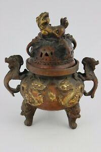 Chinese Gild Bronze Dragon & Foo Dog Incense Burner SIgned XUANDE 1426 1435