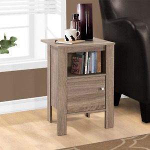 Monarch Specialties Modern Accent Table Night Stand with Drawer, Dark Taupe