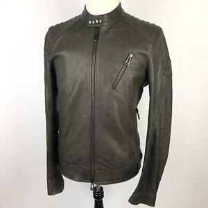 Belstaff V Racer Leather Jacket Size 48 Chocolate Brown Bomber Zip Italy $1095
