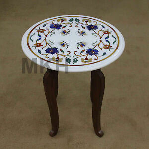 Coffee Top Table Round Furniture Stand Antique Style Vintage Marble Inlay Tables