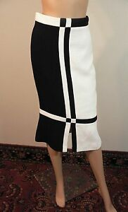 CHANEL Black & White Waffle Knit Skirt FR 38
