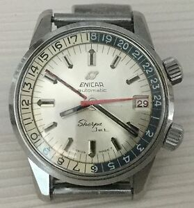 Enicar Sherpa Jet 600 Ft Gmt 24H Year 1970 Ca Our Vintage