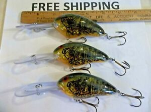 Lot of 3 Norman Fishing Lures DD22 11-17 Ft New Crankbaits GREEN CRAW COLOR NICE