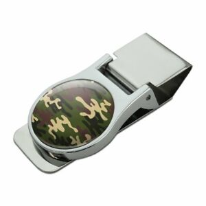 Green Camouflage Satin Chrome Plated Metal Money Clip